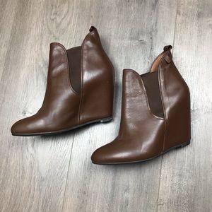Jeffrey Campbell Brown Wedge Booties 7.5